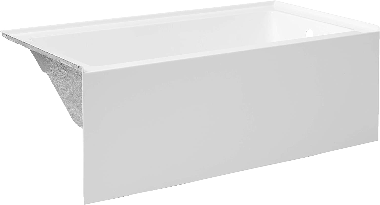 "Kingston Brass VTAP603222R Aqua Eden 60-Inch Acrylic Alcove Tub with Right Hand Drain Hole, (L) x 32"" (W) x 21-5/8"" (D), White"