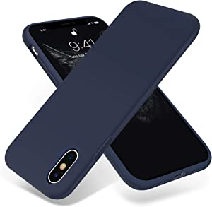OTOFLY for iPhone X Case, [Silky and Soft Touch Series] Premium Soft Silicone Rubber Full-Body Protective Bumper Case Compatible with Apple iPhone X(ONLY) - Midnight Blue