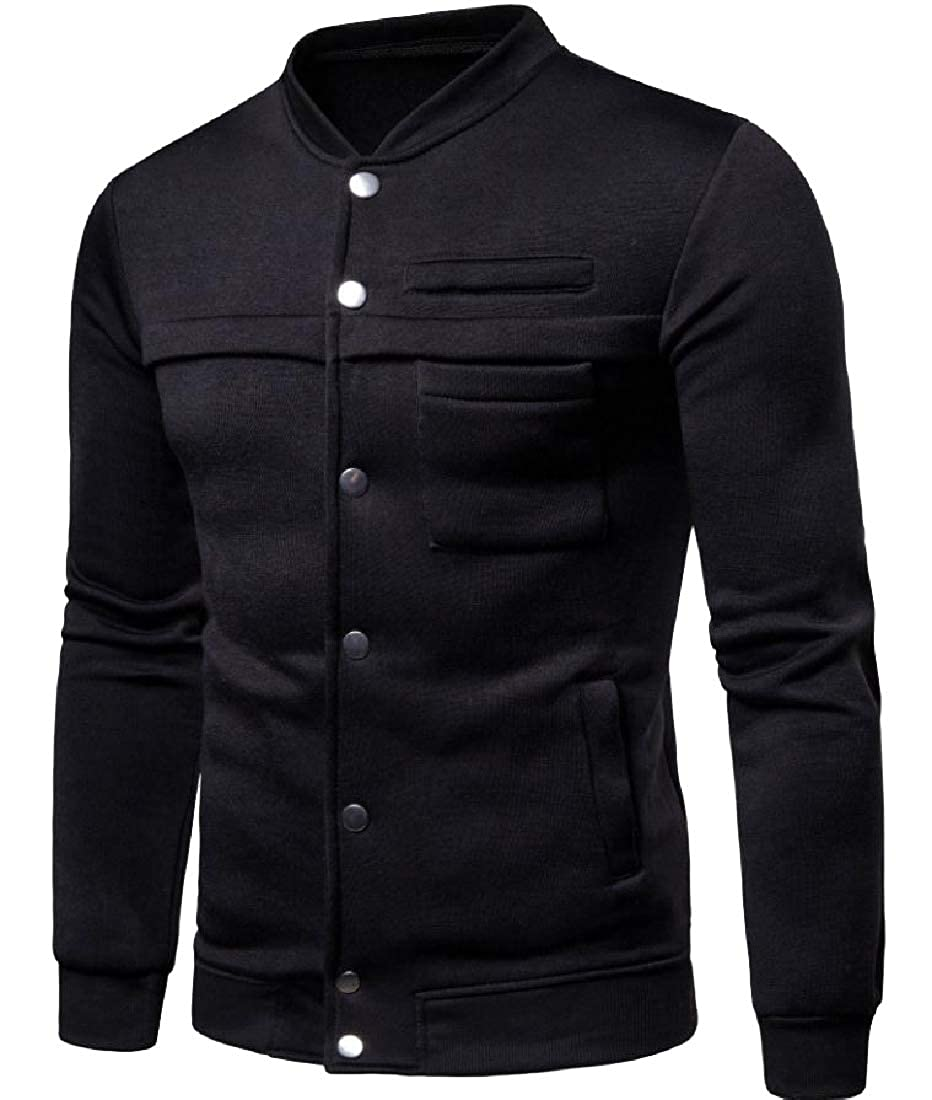 Abetteric Mens Stretchable Classic Fit Button Down Tunic Sweatshirts