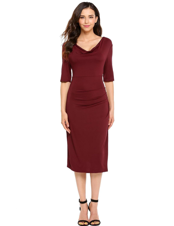 b63a0b3d6ea Amazon.com  Burlady Women s Casual Cowl Collar Half Sleeve Side Draped  Solid Bodycon Midi Dress Wine Red  Clothing