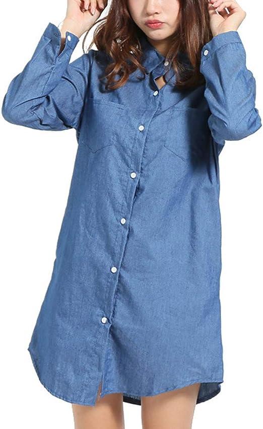 BESTOYARD Camisa de Manga Larga con Botones en la Parte Inferior de la Mujer Blusa Suelta otoño Tops de Talla Grande Bolsillos Casuales Camisa Vaquera de Manga Larga Tamaño 5XL (Azul): Amazon.es: