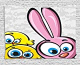 asddcdfdd Funny Tapestry, Bunny with Chickens Humor Childish Celebration Rabbit Animal Characters Image, Wall Hanging for Bedroom Living Room Dorm, 80 W X 60 L Inches, Yellow Pink Dust