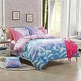 JCHX 3-Pieces Duvet Cover Bedding Set,Reversible Microfiber Colorful Rainbow Cloud (Blue, Twin)