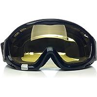 'Ajustar sobre gafas'Anti niebla Gafas de equitación con Forro de esponja Diadema elástica ajustable (Lente amarilla más brillante)