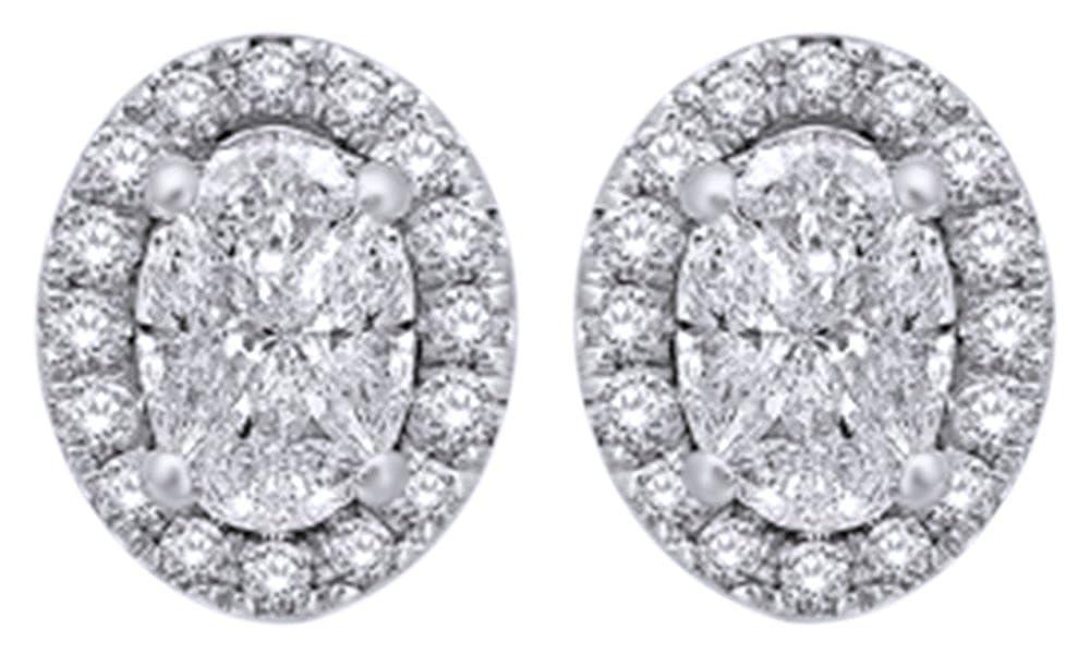 Oval & runde Form 0,62 Karat Weißszlig; natürlicher Diamant Ohrstecker in 14 ct 585 Massiv Weißszlig; Gold 14 Karat (585) WeißGold