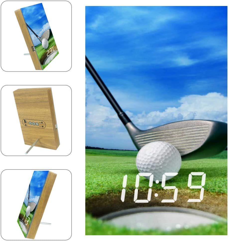 VVIEER LED Loud Digital Alarm Clock Radio withUSB forBedroom Kitchen Office Decor - Golf Ball On Lip Near Bunker Lovely Beautiful GOL