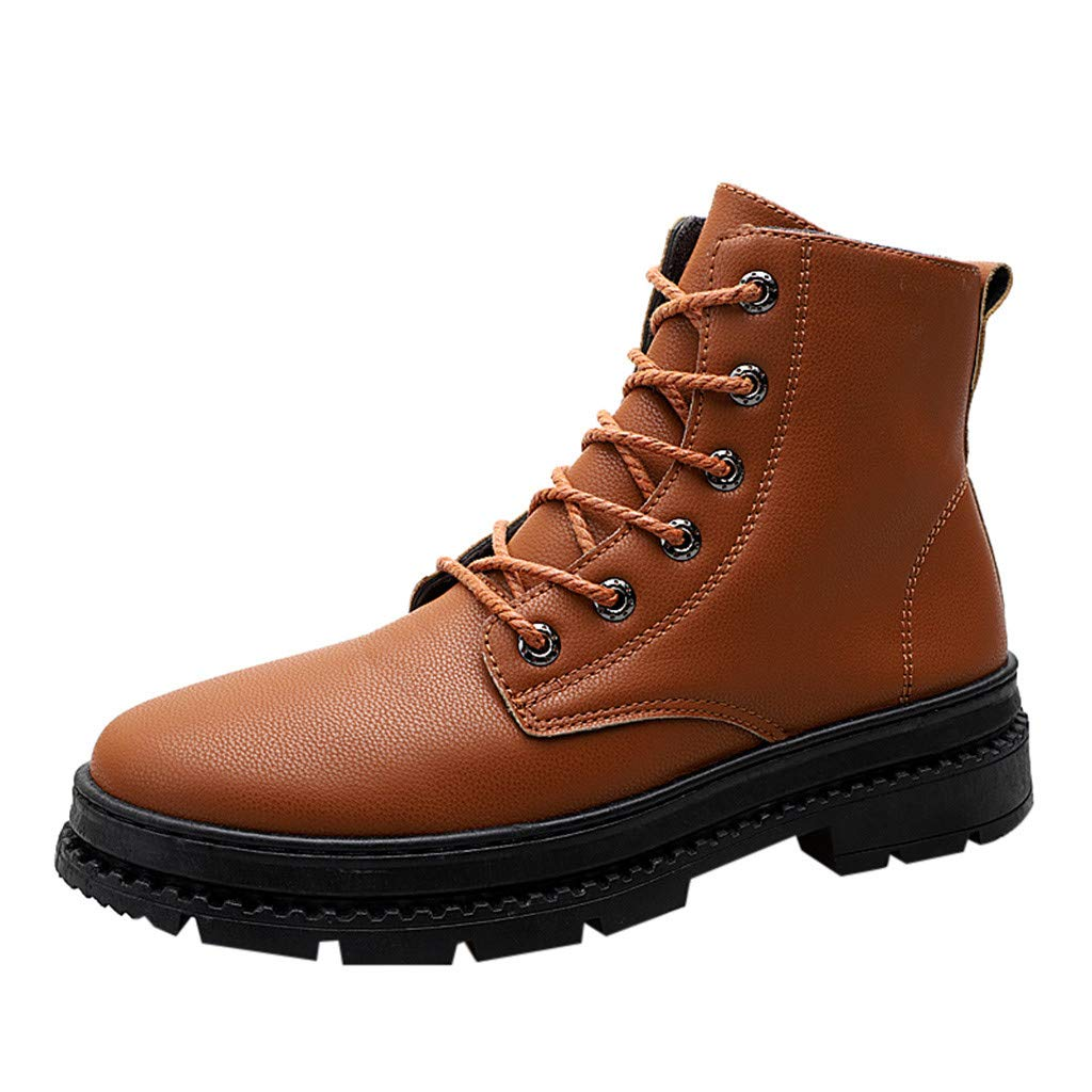 Mosunx Men High Top Boots, Boy's British Style Leather Boots Non-Slip Wear-Resistant High-Cut Tooling Boots Winter Warm Snow Boots by Mosunx