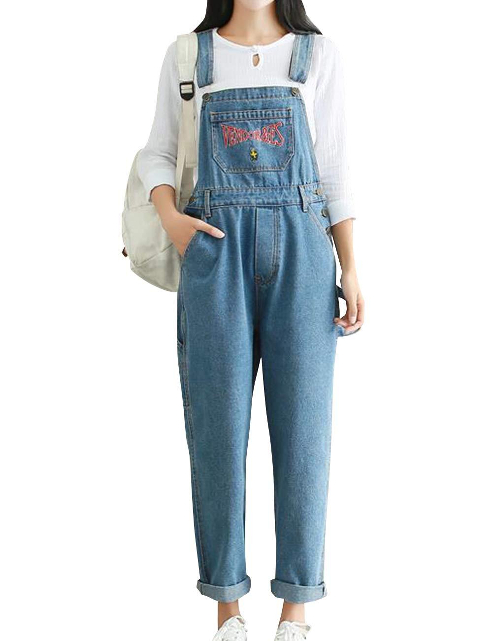 SUGIRLS Women's Casual Vintage Embroidery Bib Overalls Wide Leg Cropped Harem Denim Jumpsuit Pants Light Blue XL