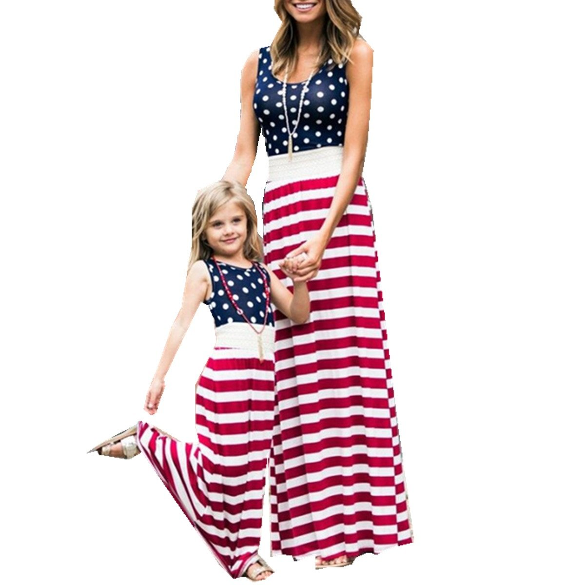 8f4497ede2 Family Matching Dress Mommy and Me USA American Flag Summer Casual Boho  Beach Long Sundress Maxi Dress THIS Dress can family wear