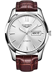 Guanqin Men's Luminous Watches Analogue Automatic Self Winding Mechanical Wrist Watch with Stainless Steel Case and Leather Strap Silver White Brown
