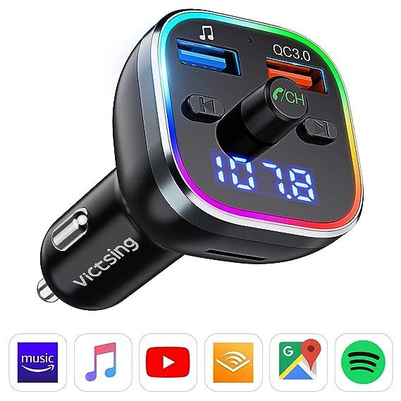 Transmisor FM Bluetooth V5.0, [RGB 7 Colores Luz de Anillo] VicTsing Manos Libres para Coche QC3.0 Carga rápida, Reproductor MP3 Coche, Adaptador de Radio Dual USB QC3.0 & 5V1A, Tarjetas SD + U Disk