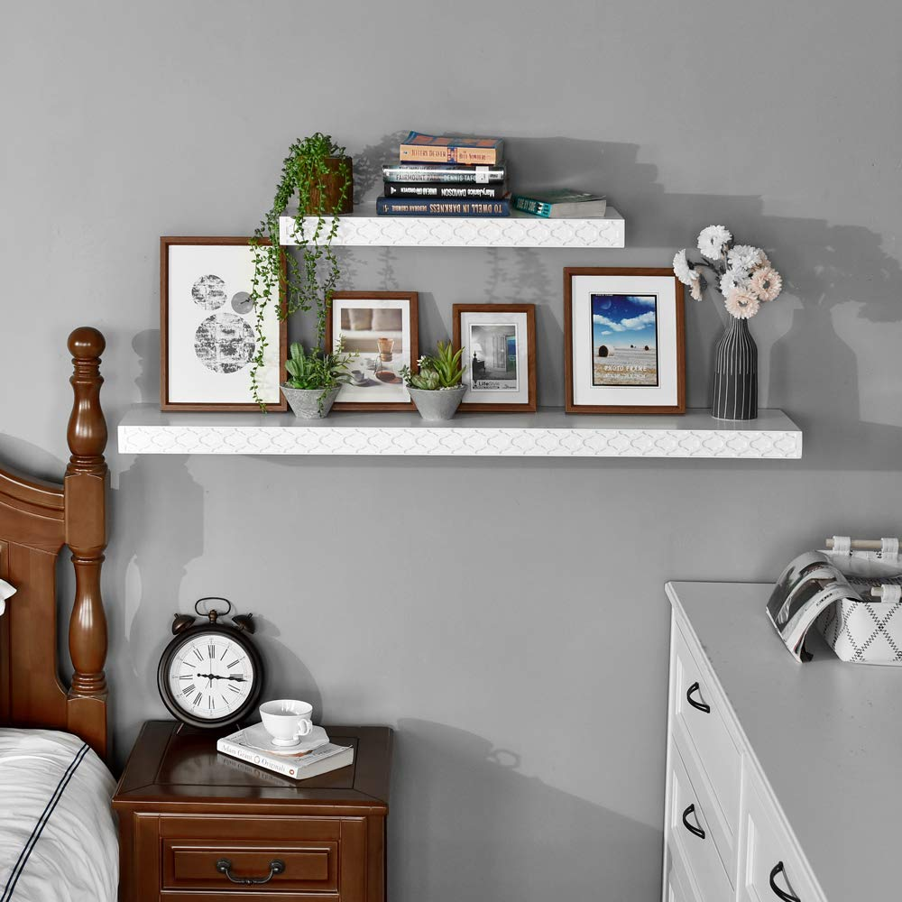 WELLAND New Spray Painted 36 inch Carving Pattern Photo Shelf,Floating Shelf for Living Room,Bed Room,Office