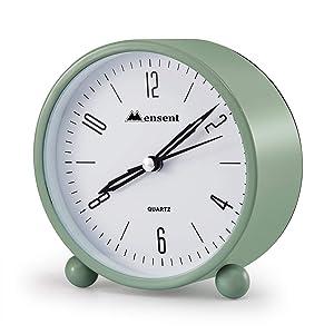 Alarm Clock.Mensent 4 inch Round Silent Analog Alarm Clock Non Ticking,with Night Light, Battery Powered Super Silent Alarm Clock, Simple Design Beside/Desk Alarm Clock (Green)