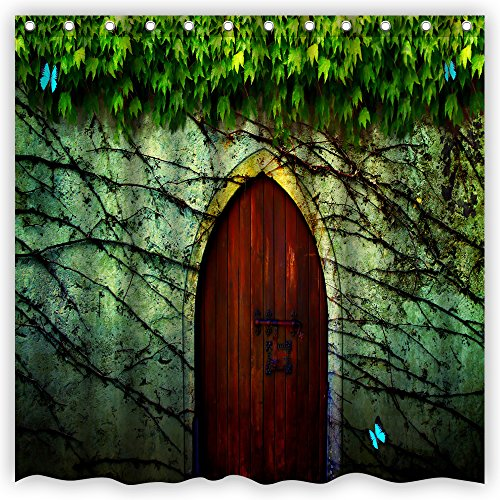 Green Wooden Door (Atwtow Awesome Vintage Secret Old Wooden Door Fresh Green Leaves Butterflies Bathroom Shower Curtain,72-Inch by 72-Inch,Unique and Generic Waterproof Polyester Fabric Decorative Bath Curtain Designs )