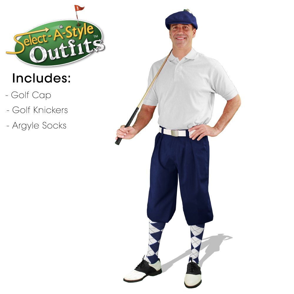 Golf Knickers Mens Select-A-Style Outfit - Navy - Waist 40 - Sock - NY/RD/WH