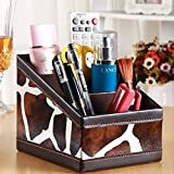 Cindy&Will 3-Slot PU Leather Desk Remote Controller Holder; Home Sundries Storage Box; TV Guide/Mail/CD/Media/Cell Phone Organizer Caddy(Dairy Cow Pattern)