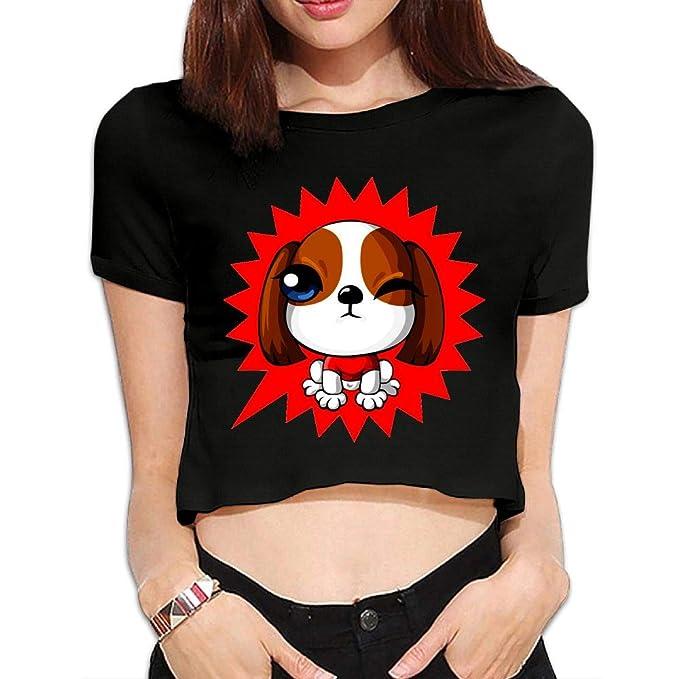 f075462c49266 Amazon.com  Women s Crop T-Shirt Sexy Custom Cartoon Dog Printed Round Neck   Clothing