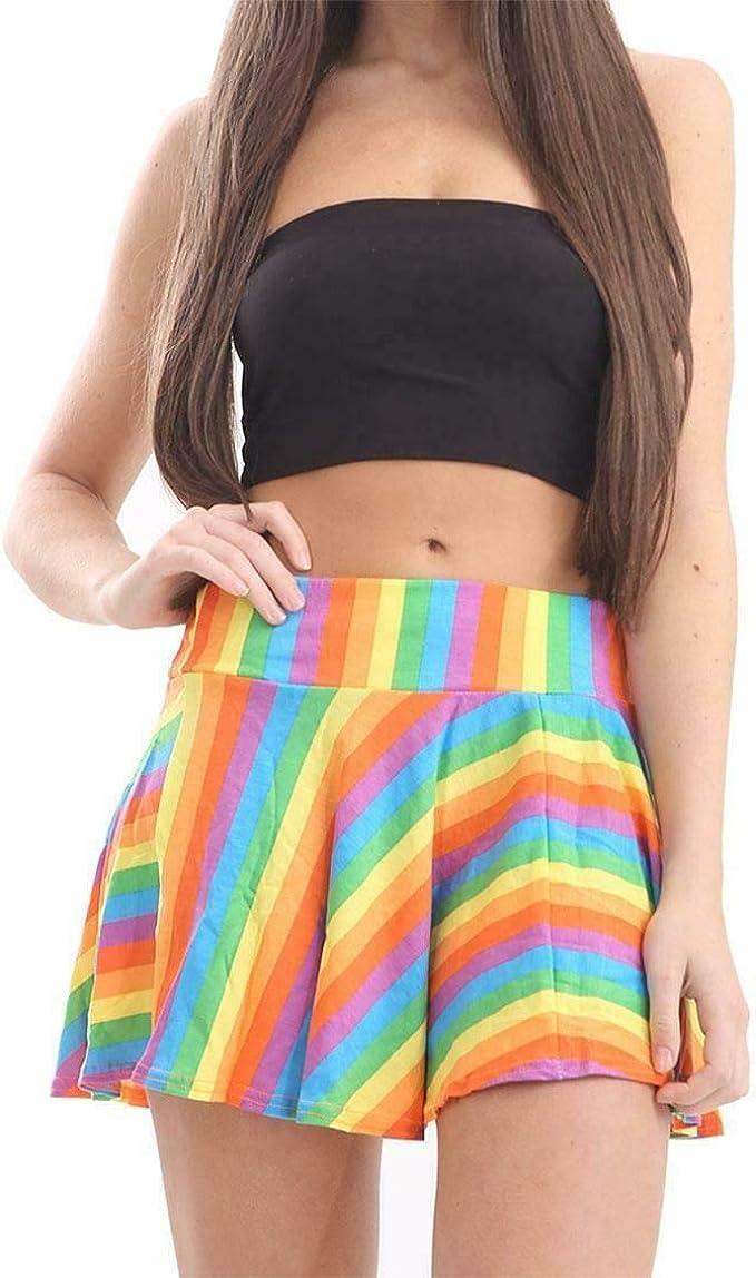 Moda HuB Falda para Mujer con diseño de arcoíris y Payaso LGBT ...