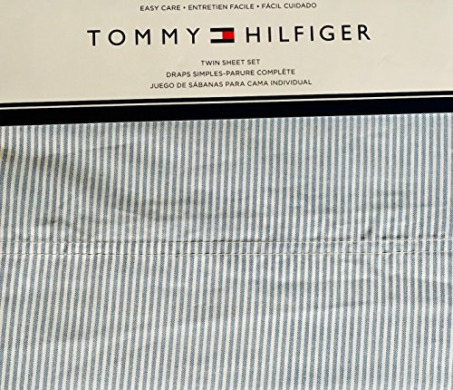 Tommy Hilfiger 3 Piece Twin Size Sheet Set Ithaca Thin Blue White Oxford -