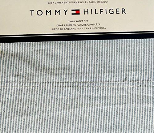 Tommy Hilfiger 3 Piece Twin Size Sheet Set Ithaca Thin Blue White Oxford Stripes
