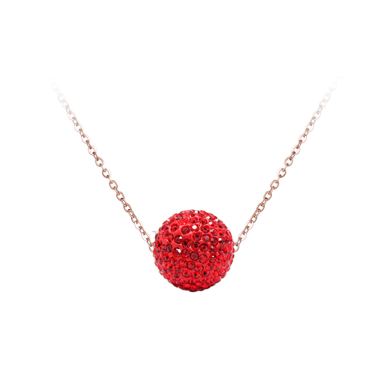 b5308c5de6 Amazon.com: Crystal Disco Ball Pendant Necklace Rose Gold Color Stainless  Steel Chain Link Necklaces Jewelry Rose Gold Chain Dark Blue: Jewelry