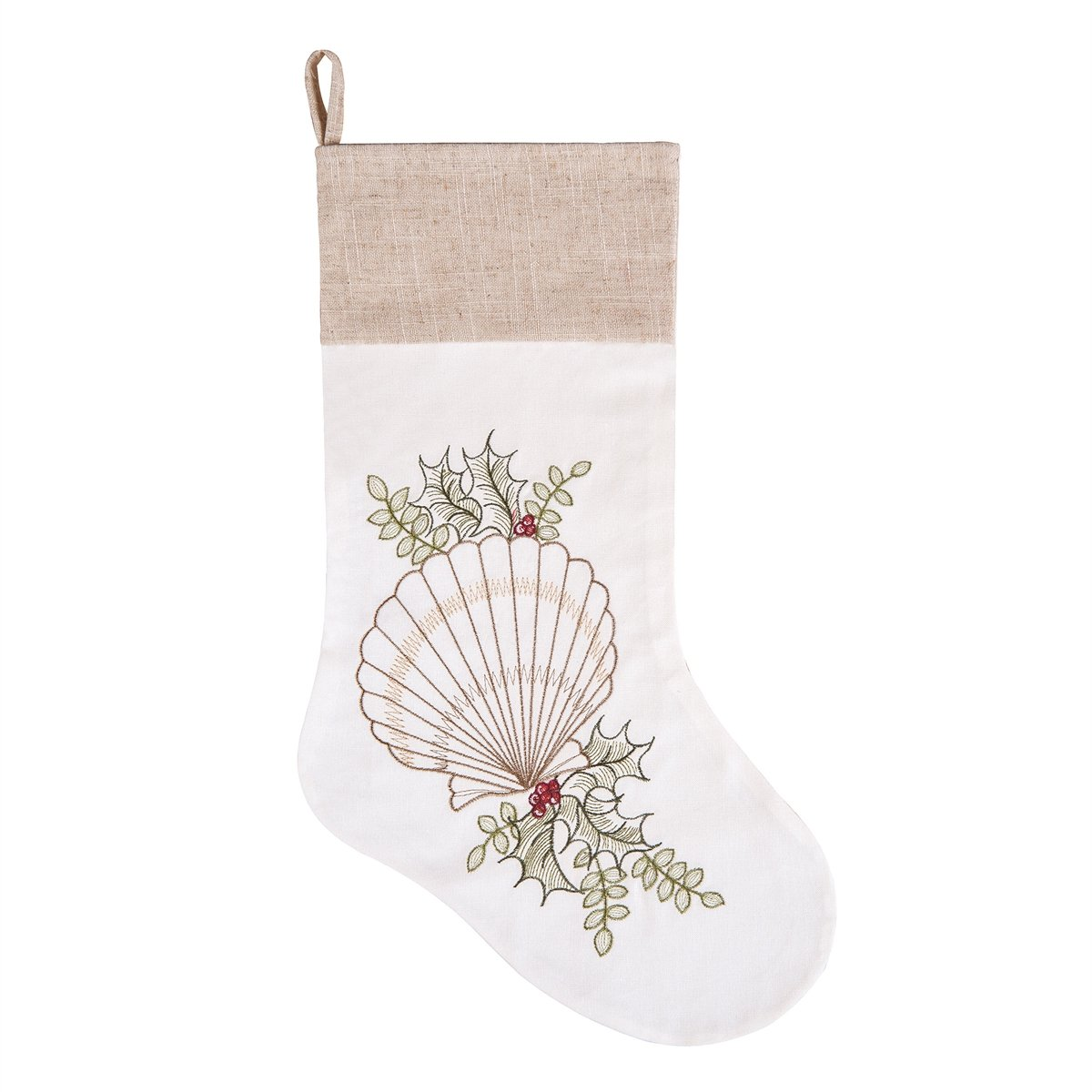 GALLERIE II Christmas Stocking - Craft Holiday Hanging Sock Ornament, Merry Christmas Tree Decoration, Shells with Holly - 20 inches