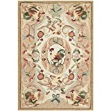 Safavieh Chelsea Collection HK48T Hand-Hooked Taupe Wool Area Rug, 1-Feet 8-Inch by 2-Feet 6-Inch