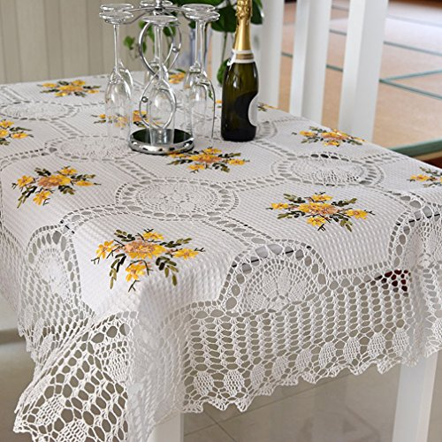 Fashion 100% Handmade Crochet Tablecloth Vintage Table Topper Floral Embroidered Table Cover Elegant Christmas Decorations Rectangle Tablecloth 54 By …