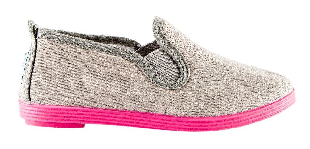 Namoo Kids Slip On Canvas Shoes for Boys and Girls, Cotton Rubber Sole, Baby/Toddler/Kid (Grey/Fuchsia)