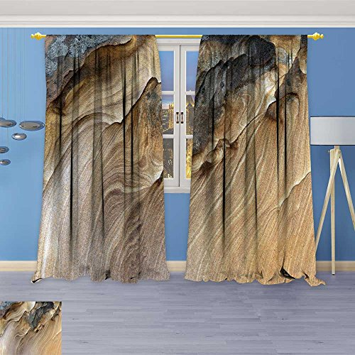 Dining Sunbrella Sandstone - SOCOMIMI 70% Blackout 1505 Panels Curtains,Sandstone Curve Thermal Insulated Drapes for Bedroom, 120W x 84L inch
