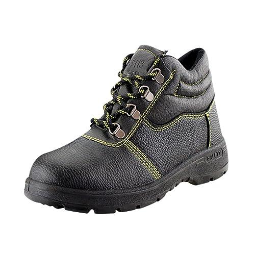 NiSeng Hombres cuero de imitación zapatillas de seguridad hombre calzado laboral botas zapatos # Negro 38