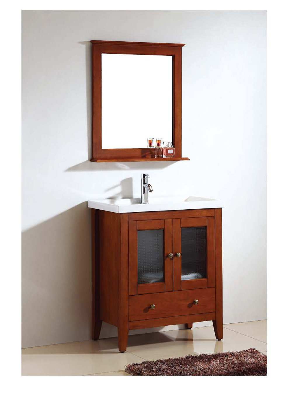 Dawn RAM240429-04 Solidwood and Plywood Frame Mirror with Shelf, Teak Finish - Vanity Cabinet Sets - Mirror Finish: Teak Detailed Framed - bathroom-vanities, bathroom-fixtures-hardware, bathroom - 61EzNJtwc0L -