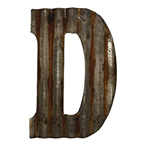 "Farmhouse Rustic 12"" Wall Decor Corrugated Metal Letter -D"