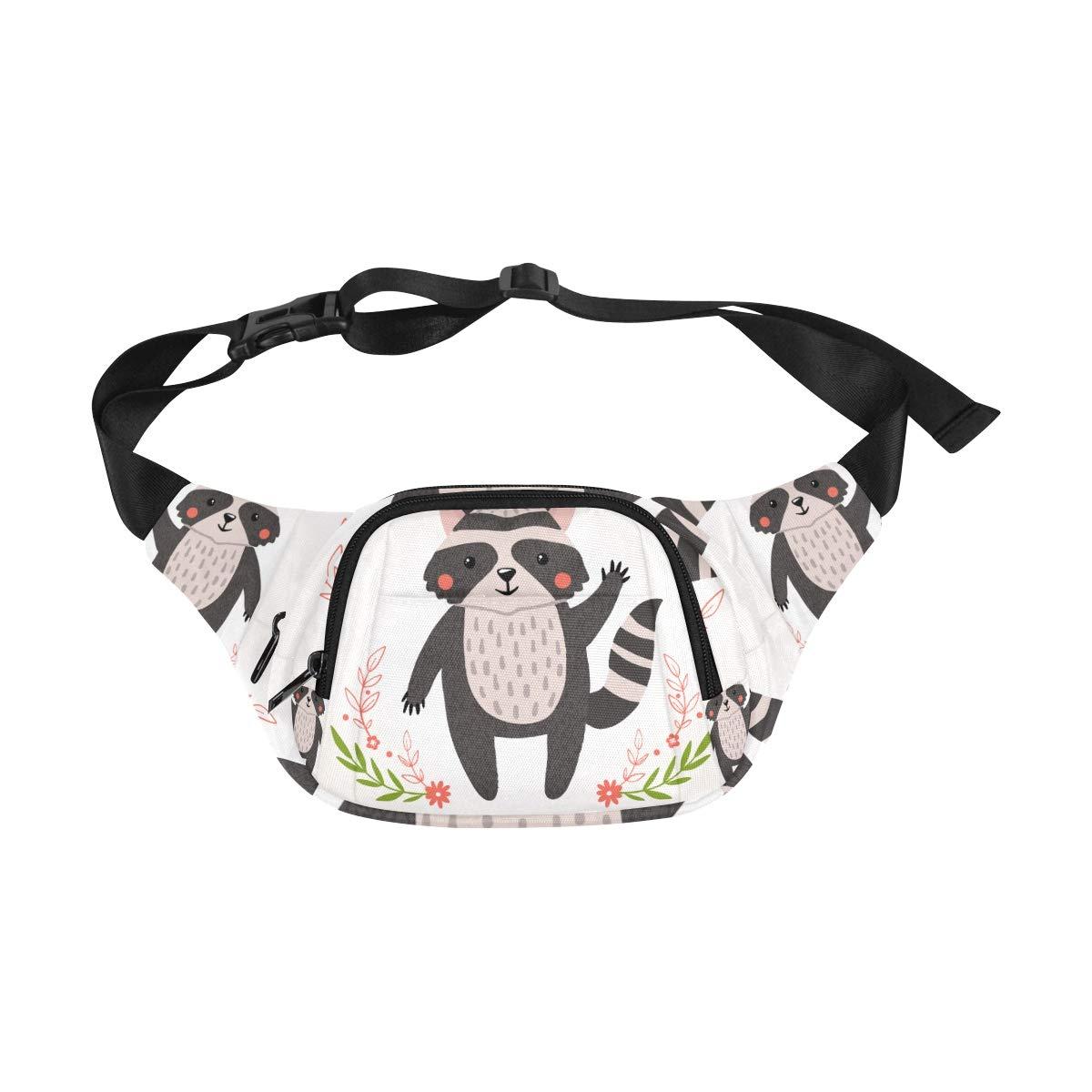 Hand Drawn Cute Lovely Raccoon Fenny Packs Waist Bags Adjustable Belt Waterproof Nylon Travel Running Sport Vacation Party For Men Women Boys Girls Kids
