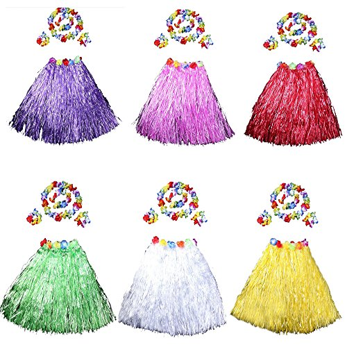 HLJgift 24'' Long Adult's Flowered Luau Hula Skirts With Costume Set Pack of 6, Assorted Colors]()