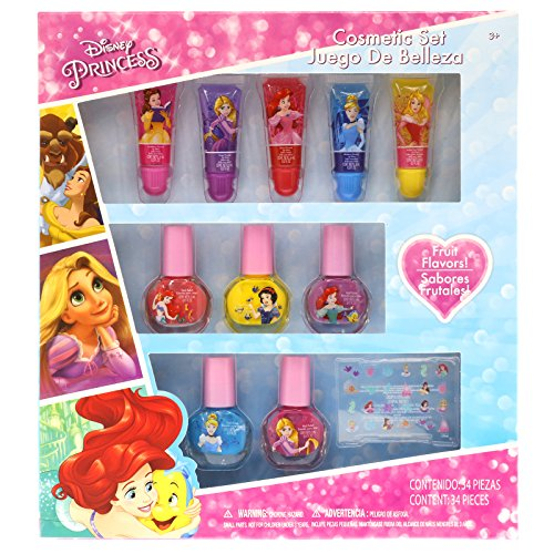 Disney Lip & Nail Set with Stickers Kids Beauty, Princess