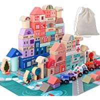 Wooden Building Blocks Set , City Construction Stacker Stacking Preschool Learning Educational Toys , Toddler Toys for 3…