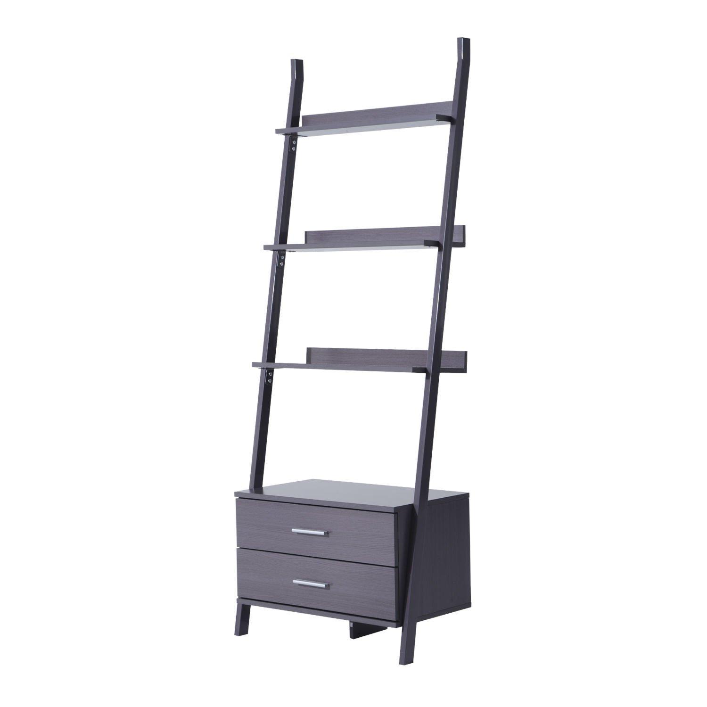 New Brown 4 Tier Leaning Wooden Wall Book Magazine Shelves Ladder Bookshelf Bookcase