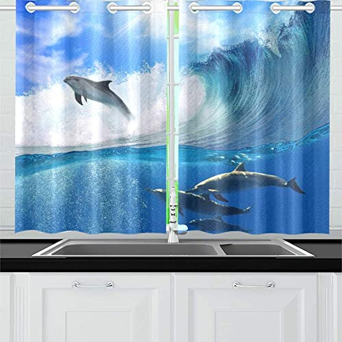 ENEVOTX Oceanview Sunlight Flock Playful Dolphins Swimming Kitchen Curtains Window Curtain Tiers for Caf , Bath, Laundry, Living Room Bedroom 26 X 39 Inch 2 Pieces