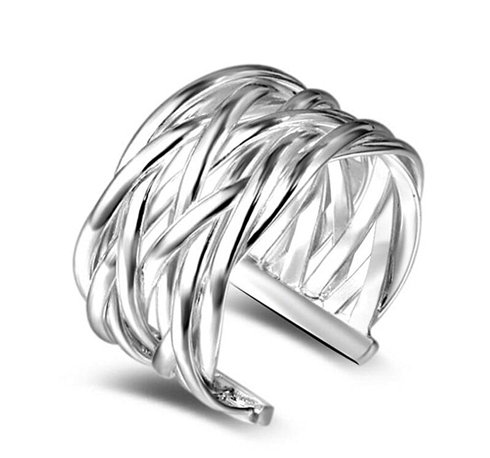 Ruikey elegante anello aperto fascia tessitura regolabile anelli matrimonio gioielli per donna, regalo di compleanno YUI-LSM01346S