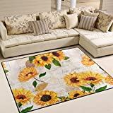 Naanle Vibrant Yellow Sunflowers Area Rug 5'x7′, Floral Vintage Style Polyester Area Rug Mat for Living Dining Dorm Room Bedroom Home Decorative For Sale