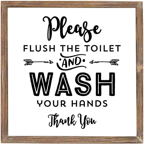 Amazon Com Mode Home 12 X 12 Please Flush The Toilet And Wash Your Hands Wall Sign For Bathroom Or Washroom Decorative Sign For Bathroom Wall Decor Funny Bathroom Wall Art Sign With Sayings Home