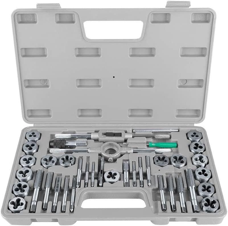 40Pcs M3-M12 Metric Standard Tap and Die Set with Wrenches and Thread Gauge Heavy Duty Hand Tools Tap and Die Set