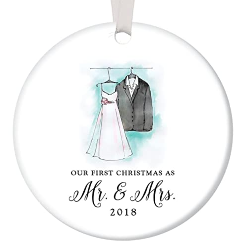 our first christmas as mr mrs ornament 2018 wedding gift porcelain ornament 1st - Our First Married Christmas Ornament