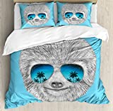Sloth Queen Size Duvet Cover Set by Ambesonne, Portrait of Sloth with Mirror Sunglasses Exotic Palm Trees Hawaiian Beach Hipster, Decorative 3 Piece Bedding Set with 2 Pillow Shams, Grey Blue Aqua