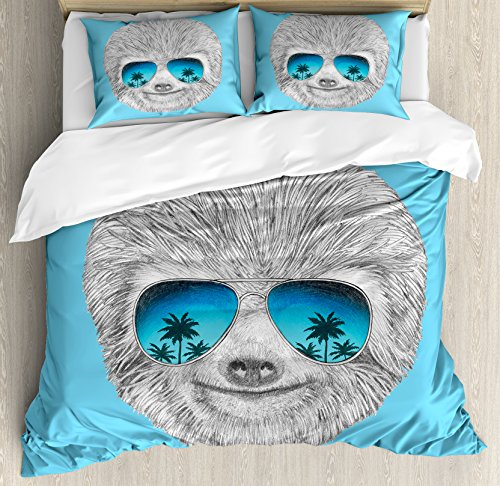 Sloth Queen Size Duvet Cover Set by Ambesonne, Portrait of Sloth with Mirror Sunglasses Exotic Palm Trees Hawaiian Beach Hipster, Decorative 3 Piece Bedding Set with 2 Pillow Shams, Grey Blue Aqua by Ambesonne