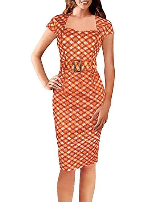 HaiDean Vestidos Verano Mujer Elegantes Manga Corta Vestido Ajustado Vestido De Lápiz con Cinturón Modernas Casual A Cuadros Impresión Business Vestido ...