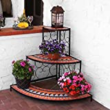 Sunnydaze 3-Tier Step Style Mosaic Tiled Indoor/Outdoor Corner Display Shelf for Plants and Decor, 40 Inch