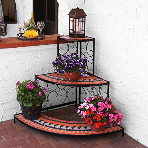 Sunnydaze 3-Tier Step Style Mosaic Tiled Indoor/Outdoor Corner Display Shelf for Plants and Decor, 40 Inch by Sunnydaze Decor