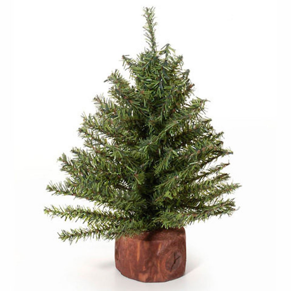 Darice Mixed Pine Tree with Wood Base,Green - 106 Tips - 9 inches